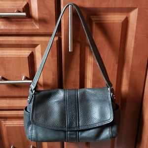 FOSSIL black pebble leather 8 pocket satchel purse